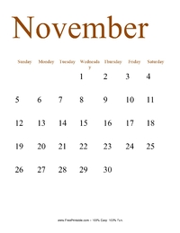 November 2017 Portrait Calendar