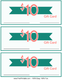 10 Dollar Monetary Gift Card