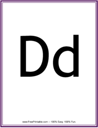 Flash Card Letter D