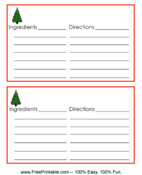 Christmas Tree Recipe Card