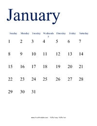 January 2017 Portrait Calendar