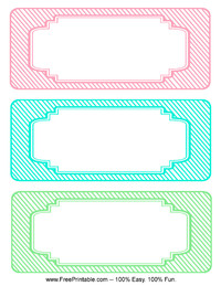 Blank Striped Classroom Labels