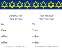 Bar Mitzvah Star of David Invitation