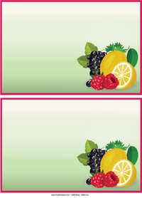 Fruits Recipe Cards