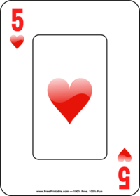 Five of Hearts Playing Card