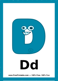 Letter D Creature Flash Card