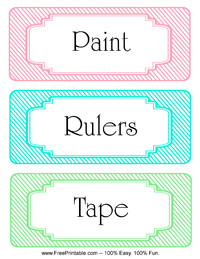 Striped Classroom Labels Rulers