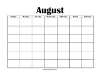Perpetual August Calendar