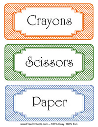 Striped Classroom Labels Scissors