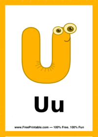 Letter U Creature Flash Card