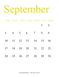 September 2017 Portrait Calendar