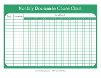 Monthly Roommate Chore Chart
