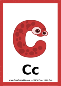 Letter C Creature Flash Card
