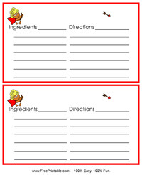 Cupid Recipe Card