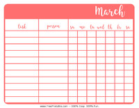 March Chore Chart