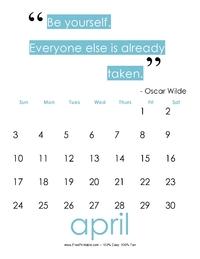 April 2017 Quote Calendar