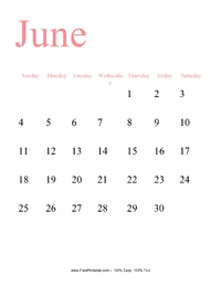 June 2017 Portrait Calendar