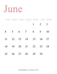 June 2017 Portrait Calendar