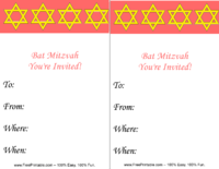 Bat Mitzvah Star of David Invitation