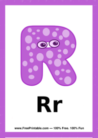 Letter R Creature Flash Card