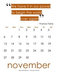 November 2017 Quote Calendar