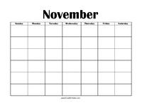Perpetual November Calendar