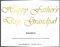 Father's Day Award for Grandpa