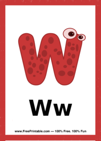Letter W Creature Flash Card