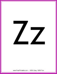 Flash Card Letter Z