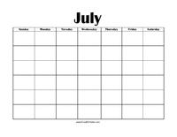 Perpetual July Calendar Color