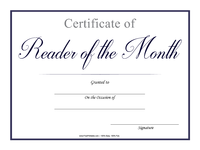 Reader of the Month Certificate Blue
