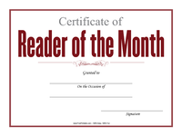Reader of the Month Certificate
