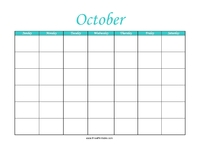 Perpetual October Calendar Color