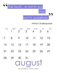August 2017 Quote Calendar