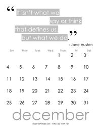 December 2017 Quote Calendar