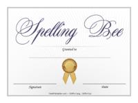 Blue Spelling Bee Certificate