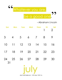 July 2017 Quote Calendar