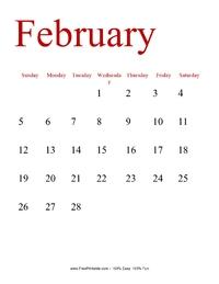February 2017 Portrait Calendar