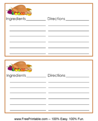 Turkey Dinner Recipe Card
