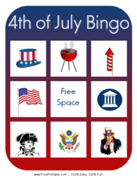 Fourth of July Bingo Card 2