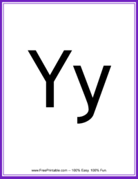 Flash Card Letter Y