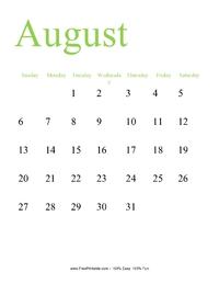 August 2017 Portrait Calendar