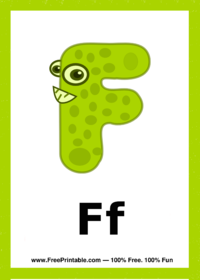 Letter F Creature Flash Card