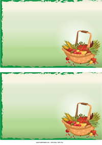 Vegetable Basket Recipe Cards