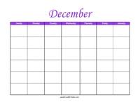 Perpetual December Calendar Color