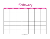 Perpetual February Calendar Color