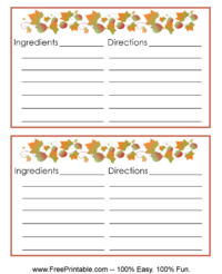Fall Leaves Recipe Card