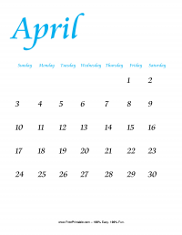 April 2016 Portrait Calendar