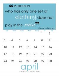 April 2016 Quote Calendar