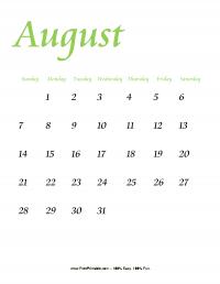 August 2016 Portrait Calendar